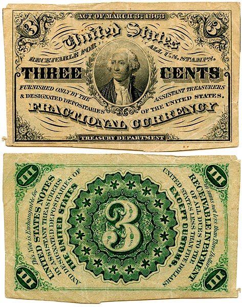 US Fractional Currency 3 Cent 1864